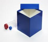 Mittlere Geschenkbox blau - glänzend - 13,6 x 13,6 x 13,0 cm